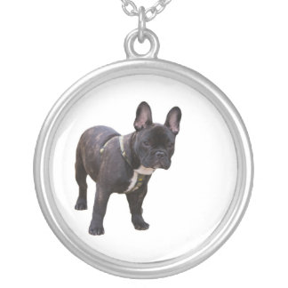 French bulldog necklace,  gift idea round pendant necklace