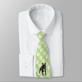 French Bulldog on green with white Paw Prints Tie