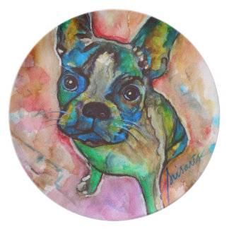 FRENCH BULLDOG PAINTING PLATE