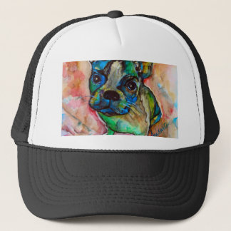 FRENCH BULLDOG PAINTING TRUCKER HAT