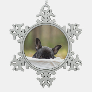 french bulldog peeking puppy snowflake pewter christmas ornament