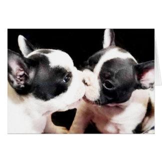 French bulldog puppies greeting card