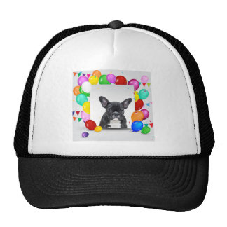 French Bulldog Puppy Colorful Balloons Birthday Cap