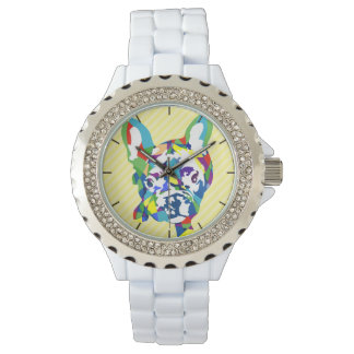 French Bulldog Puppy on roses Wrist Watches