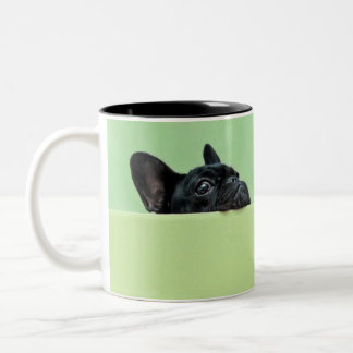 French Bulldog Puppy Peering Over Wall Two-Tone Coffee Mug