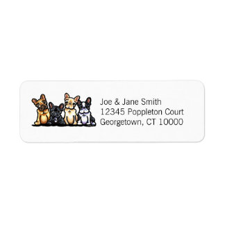 French Bulldog Quartet Personalized Return Address Label