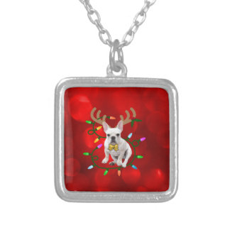 French Bulldog Reindeer Silver Plated Necklace