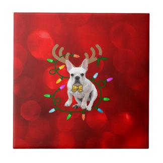 French Bulldog Reindeer Tile