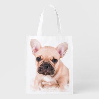 French bulldog. reusable grocery bag