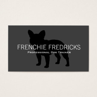 French Bulldog Silhouette Black on Grey Business Card