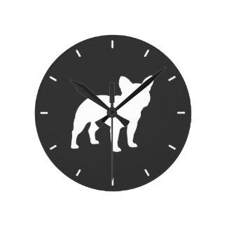 French Bulldog Silhouette Round Wall Clocks