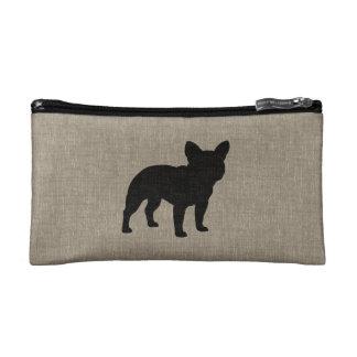 French Bulldog Silhouette | Faux Linen Burlap Makeup Bags