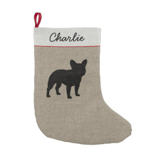 French Bulldog Silhouette with Text | Faux Burlap Small Christmas Stocking