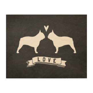 French Bulldog Silhouettes Love Wood Wall Art
