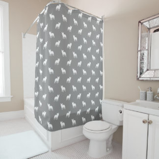 French Bulldog Silhouettes Pattern Grey Shower Curtain