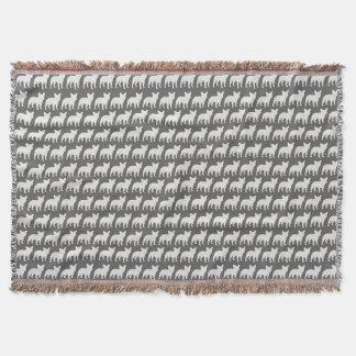 French Bulldog Silhouettes Pattern Throw Blanket