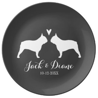 French Bulldog Silhouettes with Heart and Text Porcelain Plate