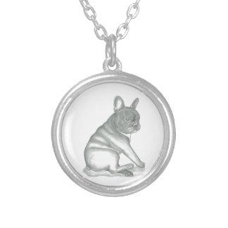 French Bulldog sketch round necklace