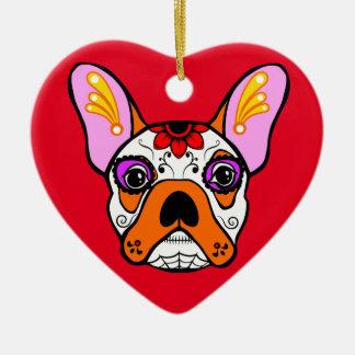 French Bulldog Sugar Skull Ceramic Ornament