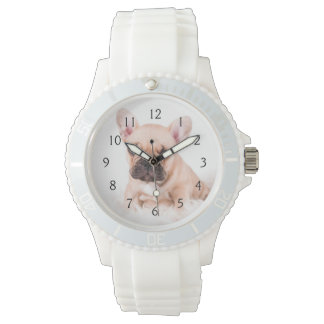 French bulldog. watches