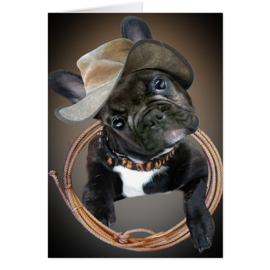 French Bulldog Western Art Card