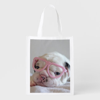 French bulldog white cub Glasses, lying on white Reusable Grocery Bag