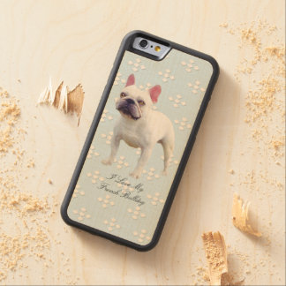 French Bulldog, white diamonds on blue Carved Maple iPhone 6 Bumper Case