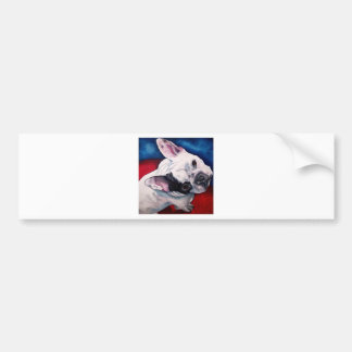 French Bulldog White with Patch Bumper Sticker