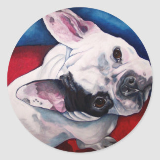 French Bulldog White with Patch Round Sticker