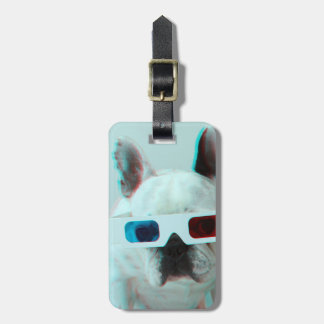 French Bulldog With 3D Glasses Bag Tags