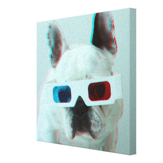 French Bulldog With 3D Glasses Gallery Wrapped Canvas