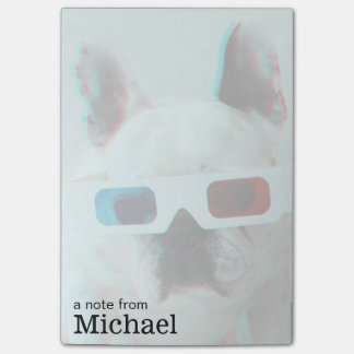 French Bulldog With 3D Glasses Post-it® Notes