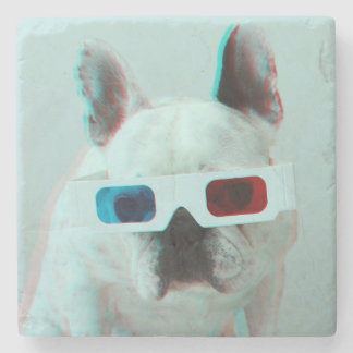 French Bulldog With 3D Glasses Stone Beverage Coaster