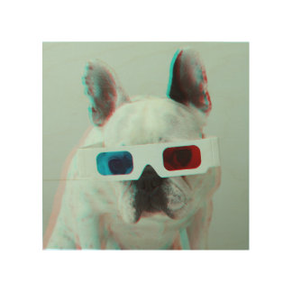 French Bulldog With 3D Glasses Wood Prints