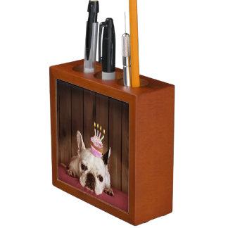 French Bulldog With Birthday Cupcake Pencil Holder