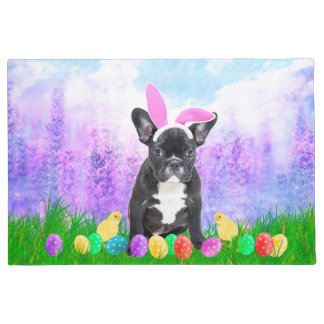 French Bulldog with Easter Eggs Bunny Chicks Doormat