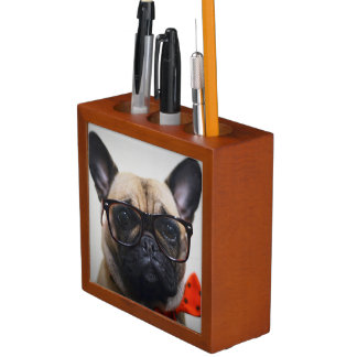 French Bulldog With Glasses And Bow Tie Desk Organiser