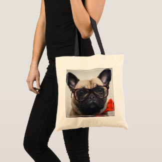 French Bulldog With Glasses And Bow Tie Tote Bag