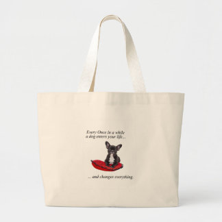 French Bulldog with heart and nice quote Jumbo Tote Bag