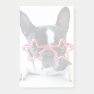 French Bulldog With Red Star Glasses Post-it Notes