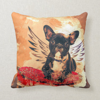 French Bulldog with wings printed on Throw Pillow