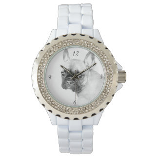 French Bulldog Women's Rhinestone Enamel Watch