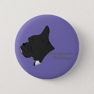 French Bulldogge head silhouette 6 Cm Round Badge