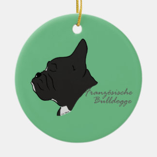 French Bulldogge head silhouette Ceramic Ornament