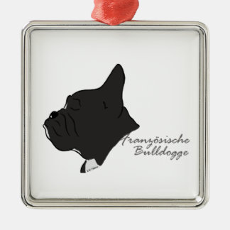 French Bulldogge head silhouette Metal Ornament