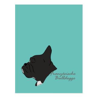 French Bulldogge head silhouette Postcard