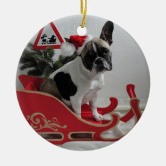 French Bulldoggen Christmas supporter Ceramic Ornament