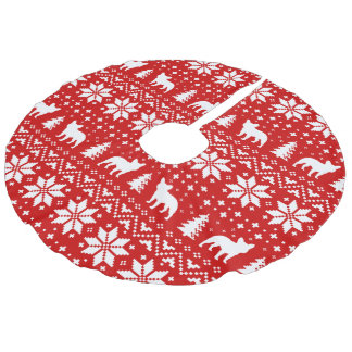 French Bulldogs Christmas Sweater Style Pattern Faux Linen Tree Skirt