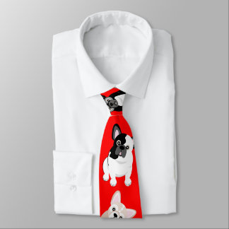 French Bulldogs Frenchies Christmas Red Tie