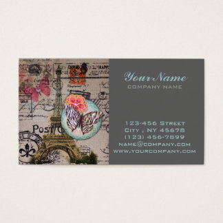French butterfly Modern Vintage Paris Eiffel Tower Business Card